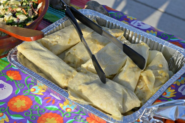 Tamales at a party outside on a table