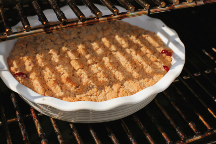 Cherry Cobbler on the traeger grill cooking