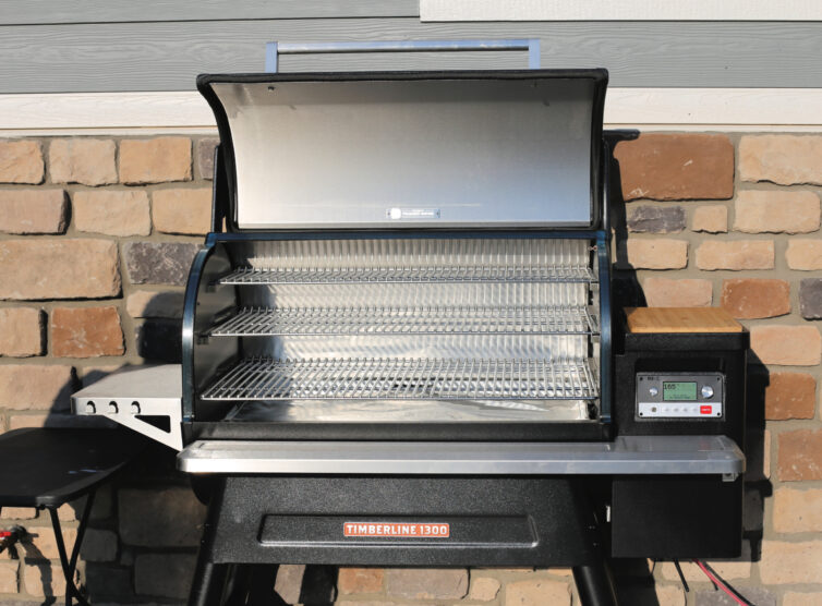 Traeger grill open showing all the space