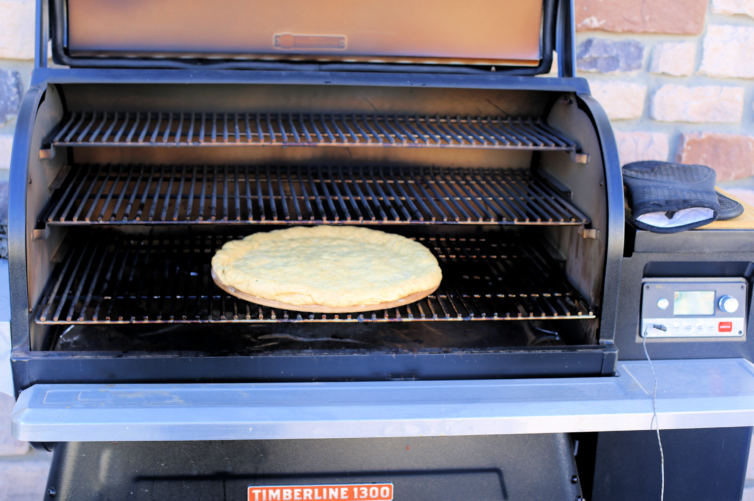 Cooking pizza dough on traeger