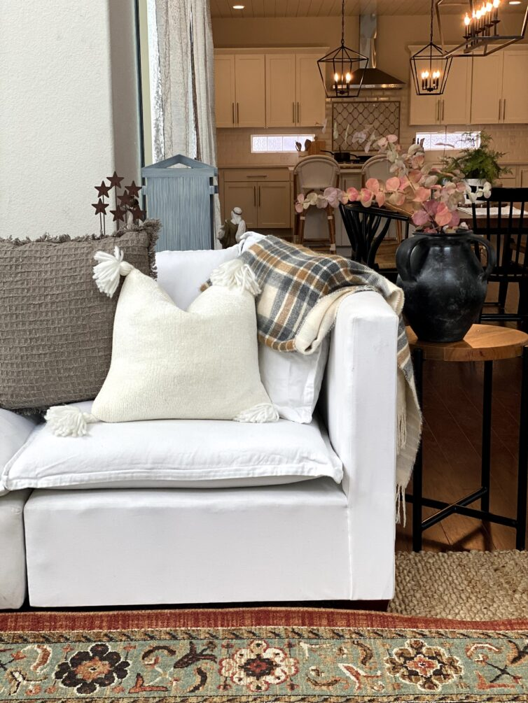 white furniture with pillows